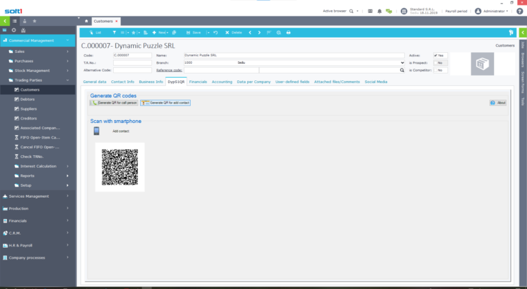 DypS1QR Softone ERP addon - Add contact